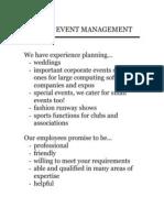 Eleve Event Management Cv