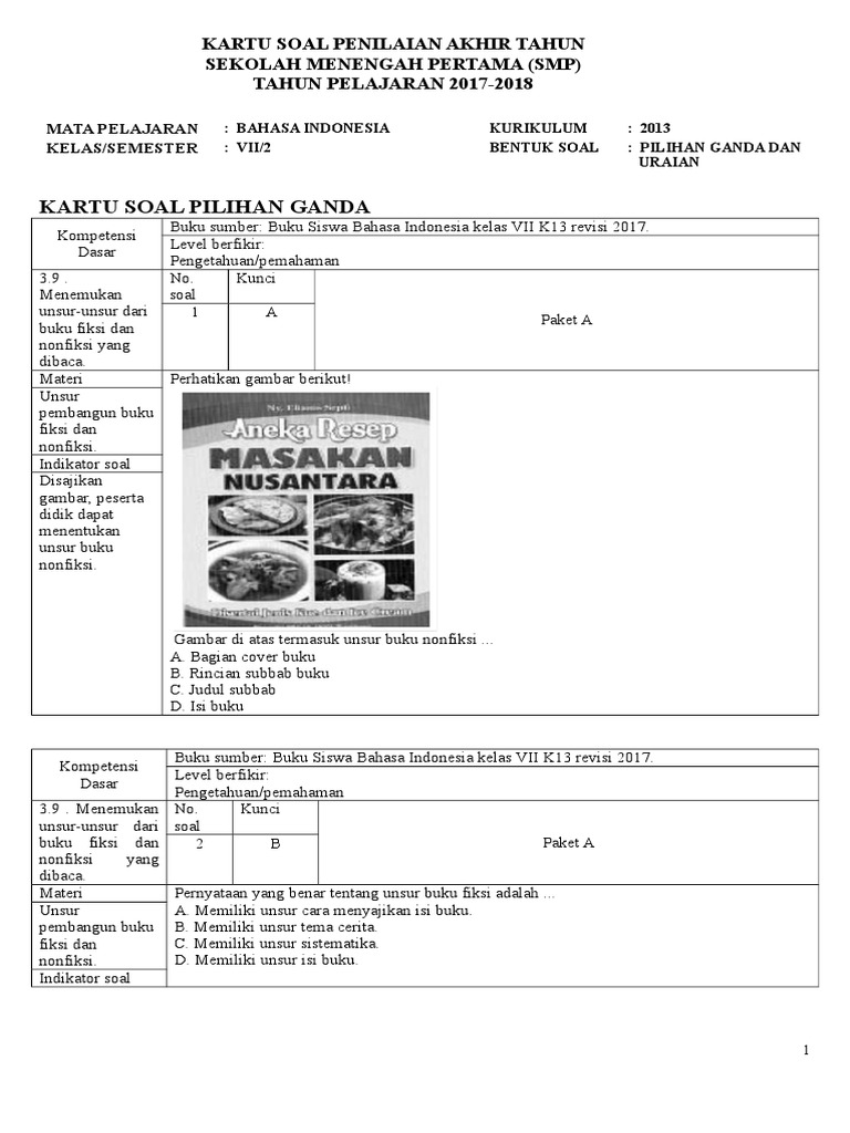Kartu Soal Pat Sem 2 Ina 7 K13 Revisi Copy