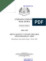 Akta 625 Akta Kanun Tanah Negara Pengesahan 2003