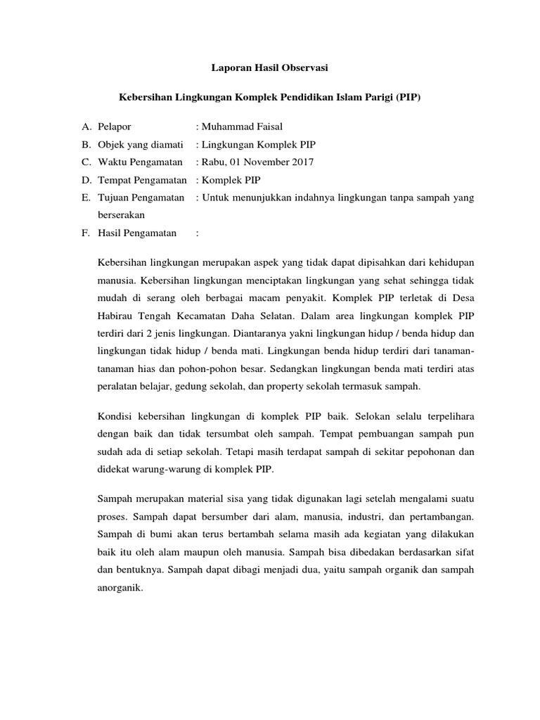 Teks Laporan Hasil Observasi Tentang Lingkungan Sekolah Utama