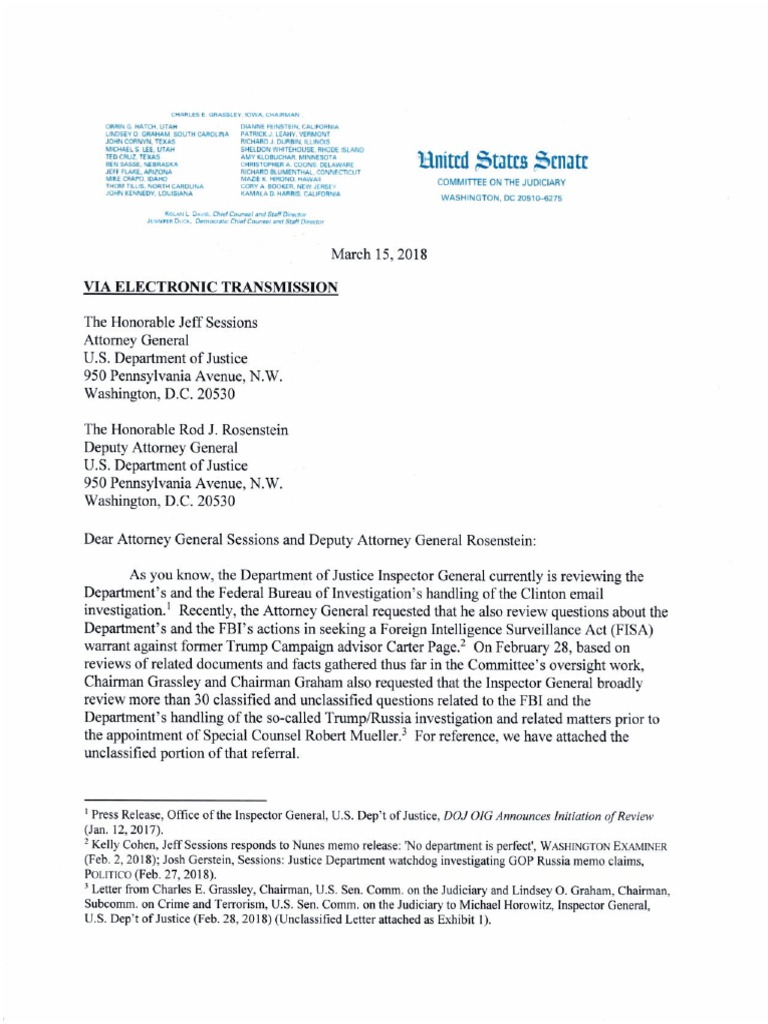 Grassley Letter to AG DAG (Requesting Special Counsel) March 15th