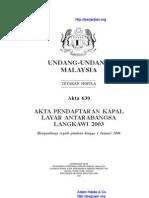 Akta 630 Akta Pendaftaran Kapal Layar Antarabangsa Langkawi 2003