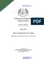 Akta 631 Akta Kewangan 2003
