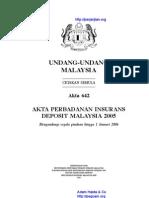 Akta 642 Akta Perbadanan Insuran Deposit Malaysia 2005