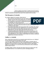 The Physics of Aristotle Versus