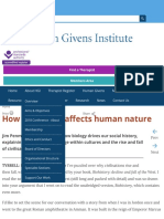 How biohistory affects human nature | Human Givens Institute