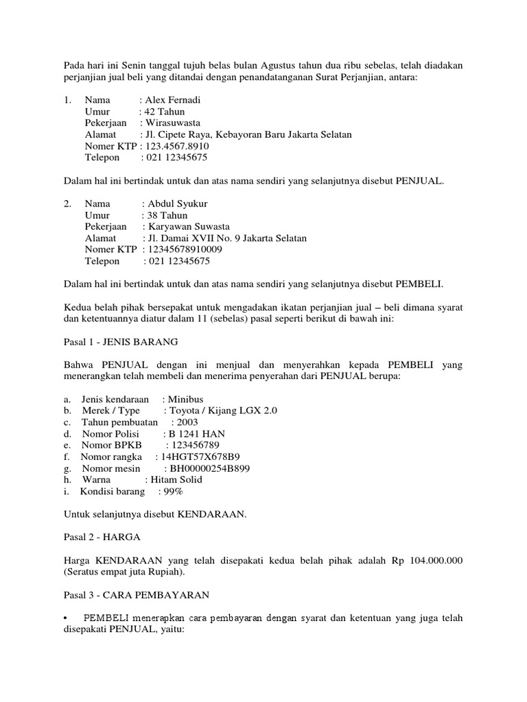 Contoh Surat Jual Beli Mobildocx