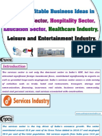 List of Profitable Business Ideas in Services Sector, Hospitality Sector,......