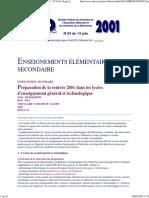 Ministère de l'éducation nationale _ Bulletin Officiel - N°24 du 14 juin 2001 - Enseignement élémentaire et secondaire