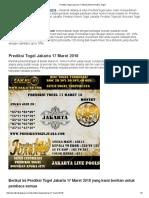 Prediksi Togel Jakarta 17 Maret 2018