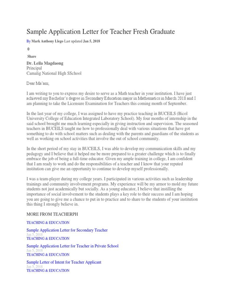 Sample Application Letter For Teacher Fresh Graduate Teachers Academic Degree