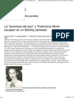 La Baronesa Del Jazz y Thelonious Monk Escapan en Un Bentley Plateado - Encarna Castillo
