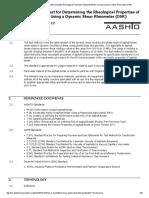 AASHTO T315-12 Standard Method of Test for Determining the Rheological Properties of Asphalt Binder Using a Dynamic Shear Rheometer (DSR) - Light