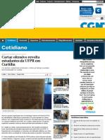 Cartaz Ofensivo Revolta Estudantes Da UFPR Em Curitiba - CGN - O Maior Portal de Notícias Em Vídeo d