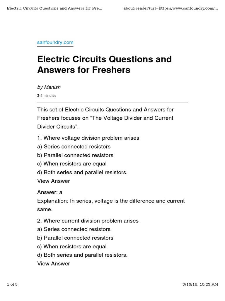 2 Questions On Simple Resistive Circuits Series And Parallel Current In A Circuit Electrical Resistance Conductance