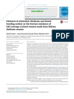 influence of Restoration Thickness and Dental Bonding Surface on the Fracture Resistance of Full-coverage Occlusal Veneers Made From Lithium Disilicate Ceramic