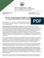 PRESS RELEASE -Councilmember Vince Gray Advances Health Care Legislation