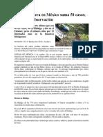 Brote de Cólera en México Suma 58 Casos