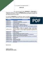 Circular Aprobación Reglamento Interno Trabajo