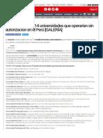 Universidades Que No Cuenta Con Permiso de La Sunedu