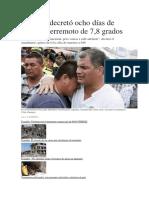 Ecuador Decretó Ocho Días de Luto Por Terremoto de 7