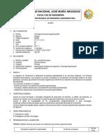 Sílabo Tecnología de Procesos Agroindustriales 2017 - II