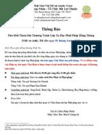 Thư Mời Tham Dự Chương Trình Lớp Tu Học Phật Pháp Hằng Tháng