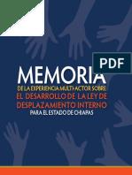 MEMORIA DE LA EXPERIENCIA MULTIACTOR-SOBRE EL DESARROLLO DE LA LEY DE DESPLAZAMIENTO FORZADO INTERNO PARA EL ESTADO DE CHIAPAS