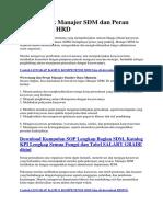 Tugas Pokok Manajer SDM Dan Peran Departemen HRD