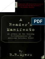 A Readers Manifesto an Attack on the Growing Pretentiousness In