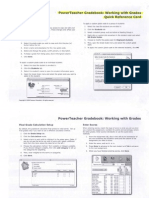 Power Teacher Gradebook.Working With Grades.Quick Reference Card
