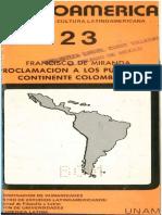 Proclamación a Los Pueblos. Miranda Francisco