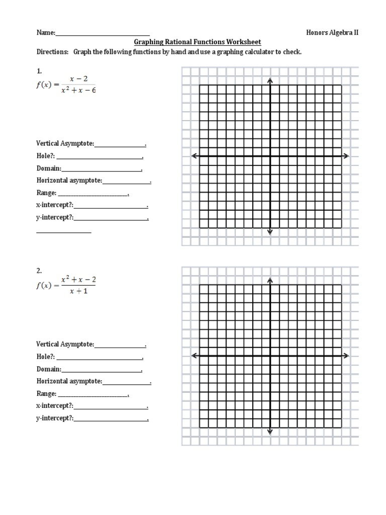 Graphing Rational Functions Worksheet 2