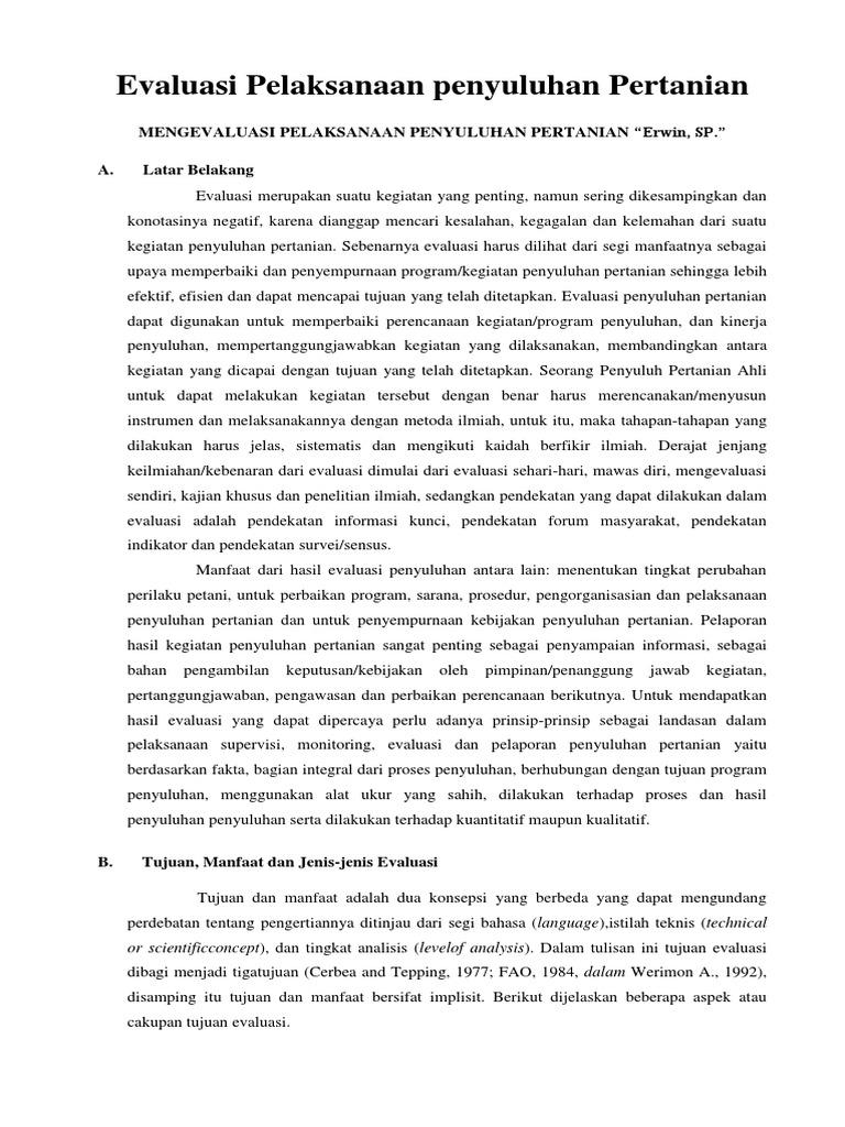 Evaluasi Pelaksanaan Penyuluhan