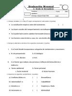 Examene Bimestral II PSICOLOGIA 2do Sec