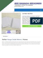 Daftar Harga Cetak Memo / Cetak Notes / Cetak Block Note