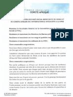 Message de Soutien Du Comité Afrique