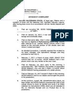 Affidavit of Complaint for Theft