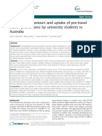 Travel Risk Behaviours and Uptake of Pre-travel Health Preventions by University Students in Australia