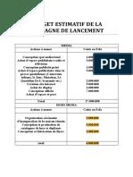 Budget Estimatif de La Campagne de Lancement