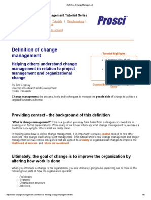Definition Change Management | Change Management | Project