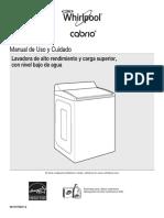 7MWTW8500EC Manual de Uso y Cuidado, Lavadora Whirlpool