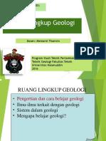 Kuliah 1 - Ruang Lingkup Geologi