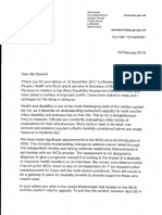 Letter From DWP Minsterial Correspondence 2018