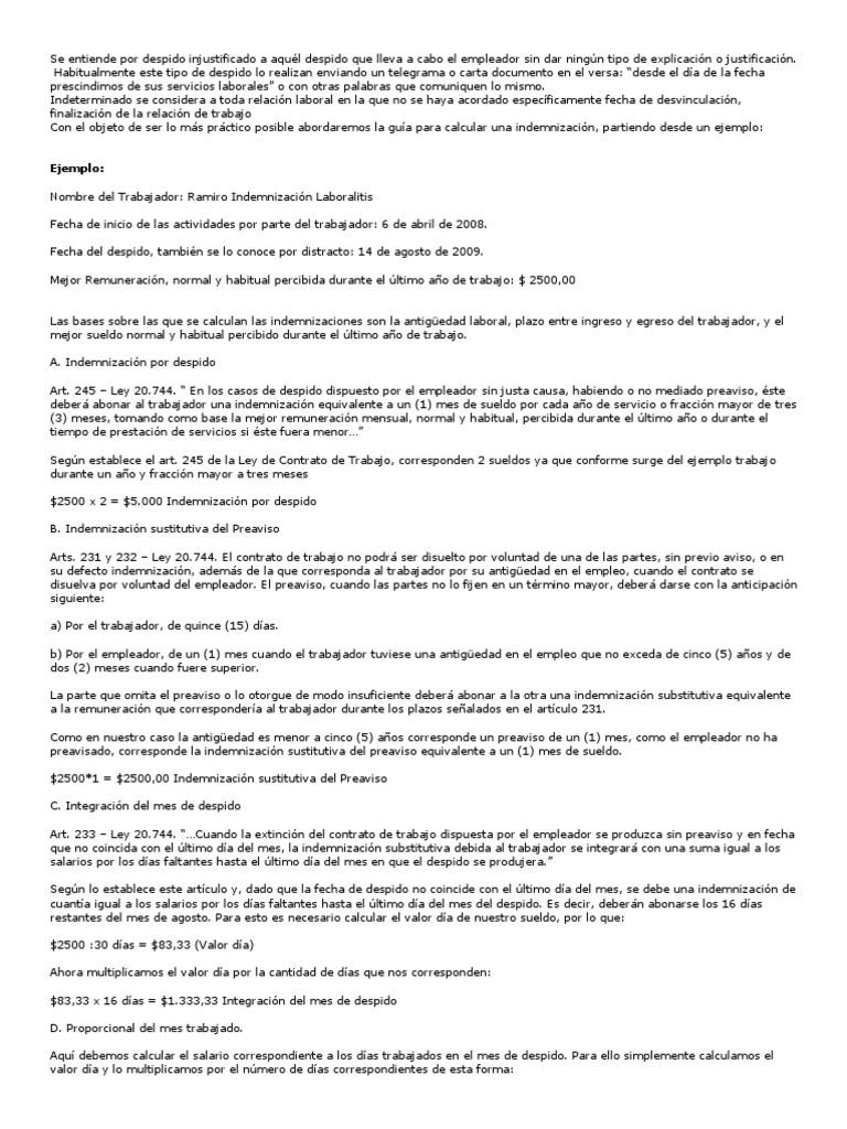 Derecho Laboral Indemnizaciones