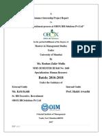 Summer Internship Project Report on recruitment process at OBOX