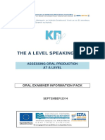 A Level Oral Examiner Info Pack