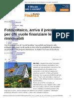 Fotovoltaico, Arriva Il Prestito Per Chi Vuole Finanziare Le Rinnovabili-Repubblica.it