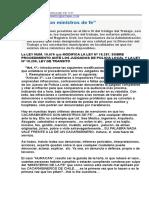 EL MINISTERIO DE LA FE, DEBE SER ELIMINADO PARA CARABINEROS DE CHILE