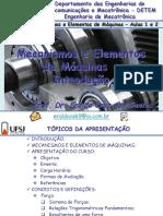 Mecanismo e Elementos de Máquinas - UFSJ - 1 e 2 Aulas - Introdução